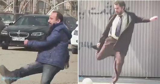 ویدیوکلیپ فوتبال بازی اصغر فرهادی و شهاب حسینی درپشت صحنه فیلم فروشنده